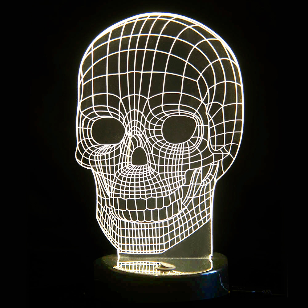 3D Tisch Leuchte LED Totenkopf als coole Deko