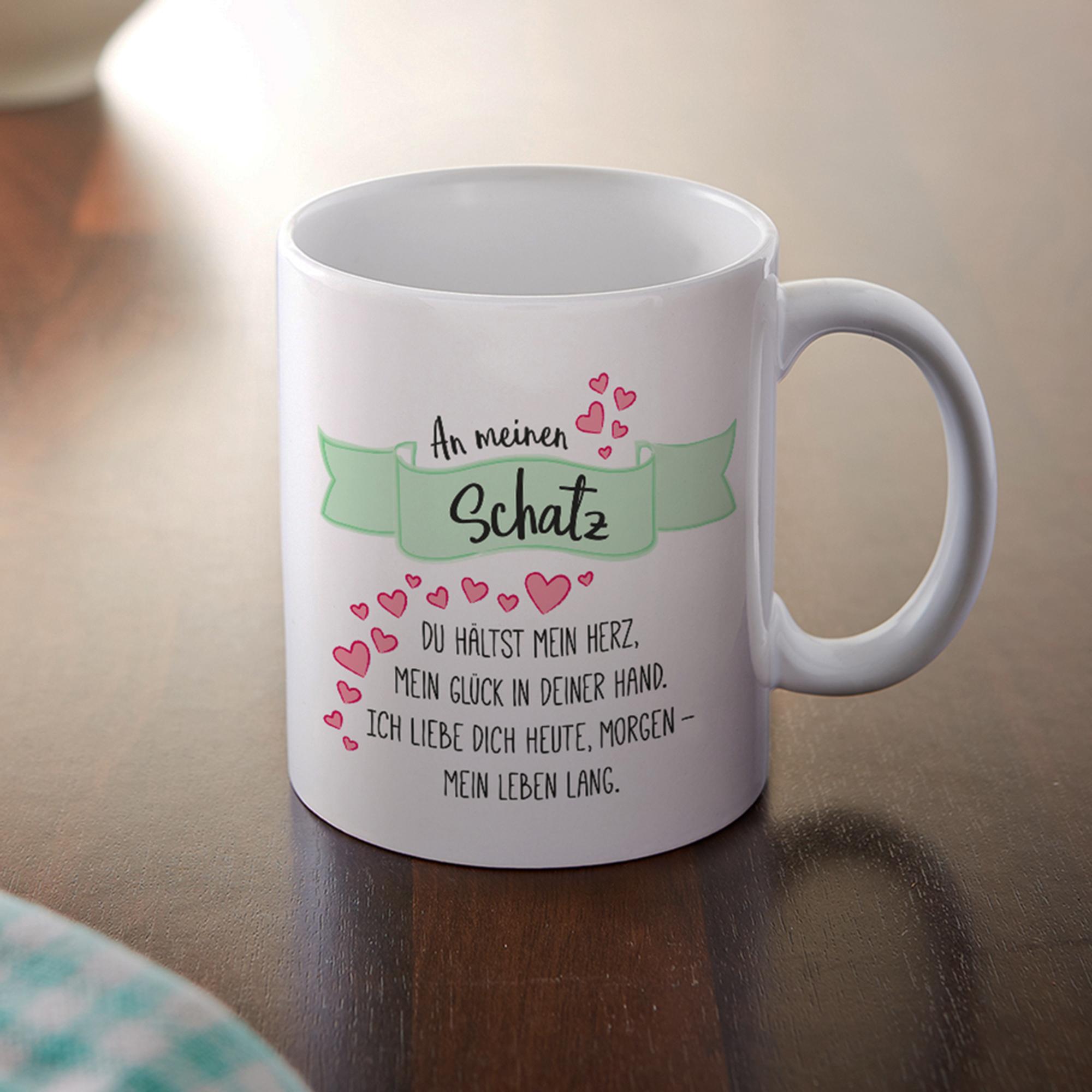 Romantische Tasse - An meinen Schatz aus Keramik - weiß