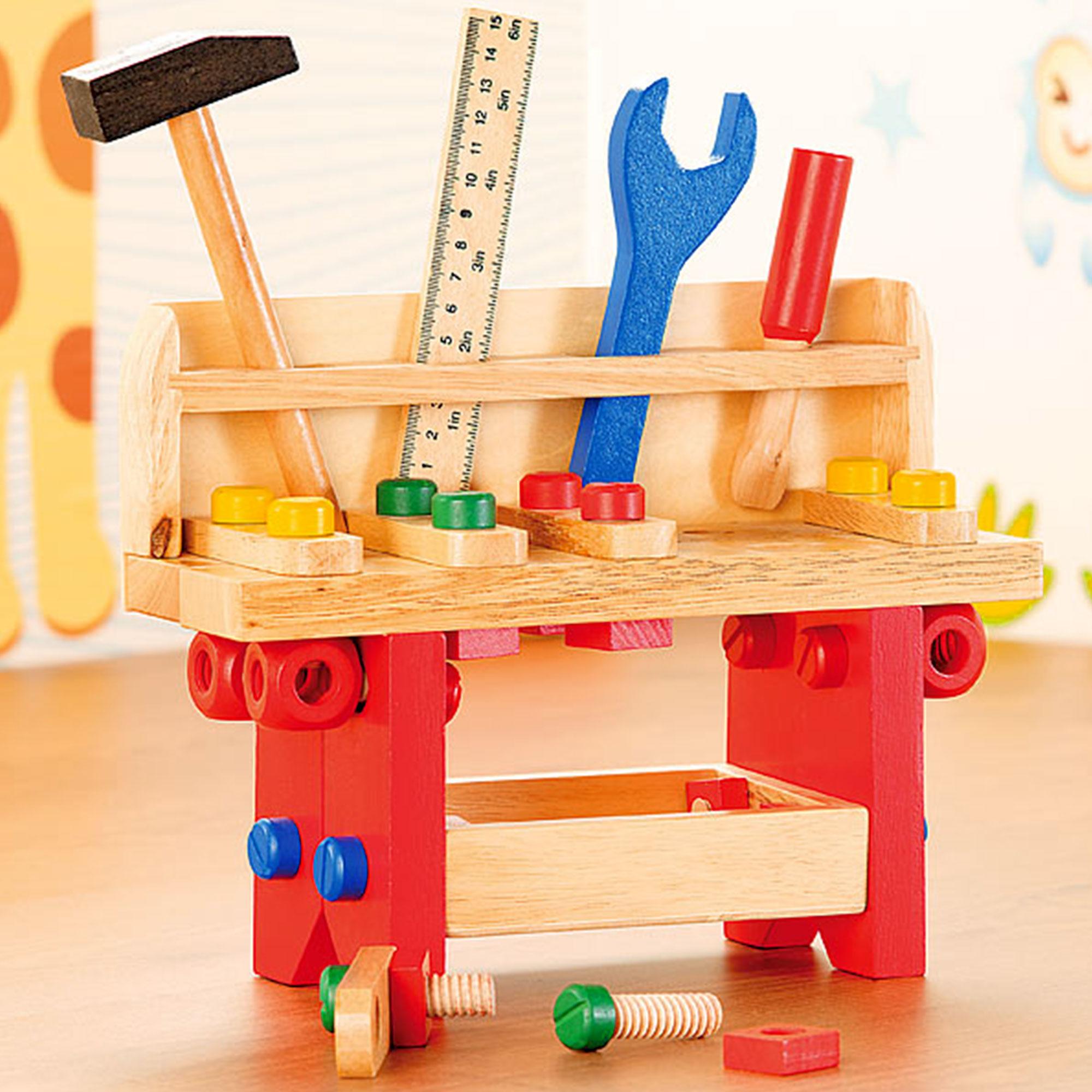 Motorik Spielzeug Fur Kinder Werkbank Aus Holz 51 Teilig