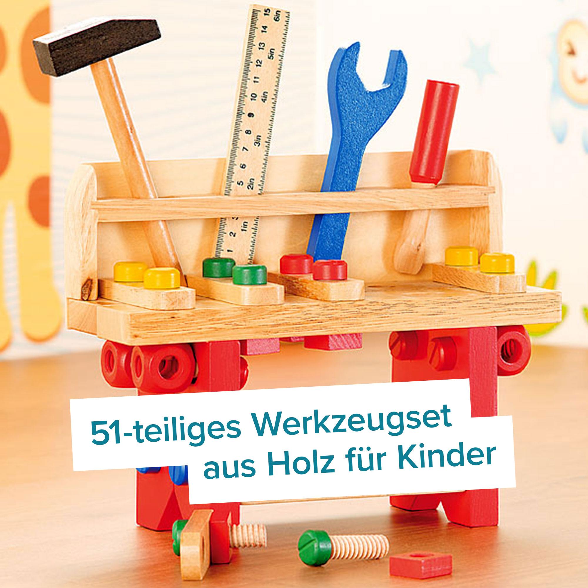 Motorik Spielzeug für Kinder - Werkbank aus Holz - 51-teilig