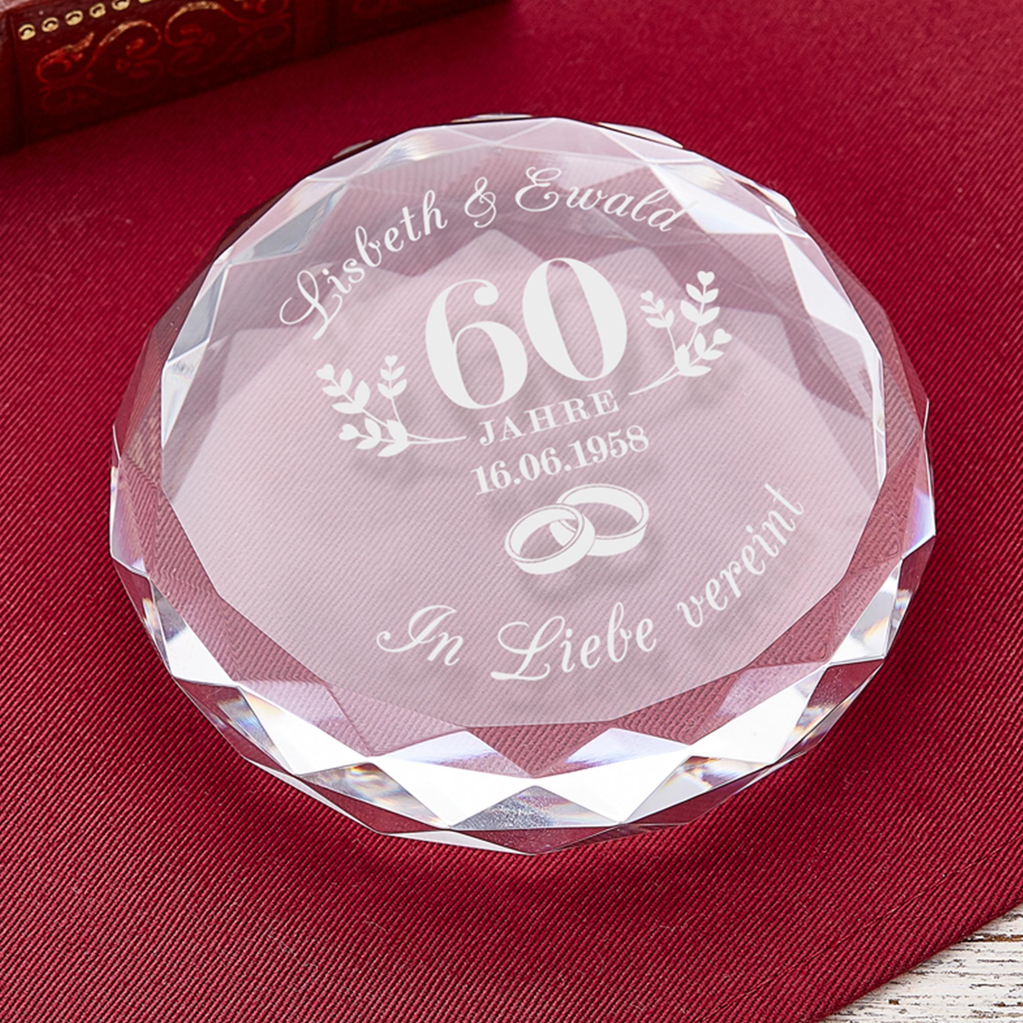 Kristall mit Gravur zur diamantenen Hochzeit mit Namen