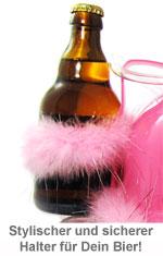 Bierhelm pink mit Glitzer Puscheln - 2