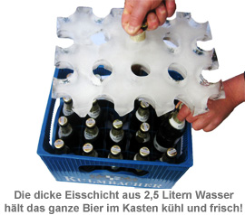 Bierkühler - Eisblockform für Bierkisten - 0,5 l Flaschen - 3