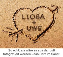 Herz im Sand - personalisierte Tasse - 2