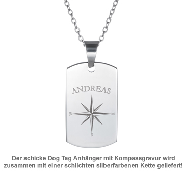 Army Dog Tag Kette mit Gravur - Kompass - 3