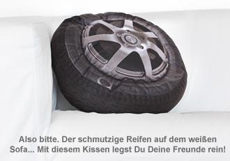 autoreifen kissen lustiges sitzkissen und sofakissen als felge. Black Bedroom Furniture Sets. Home Design Ideas