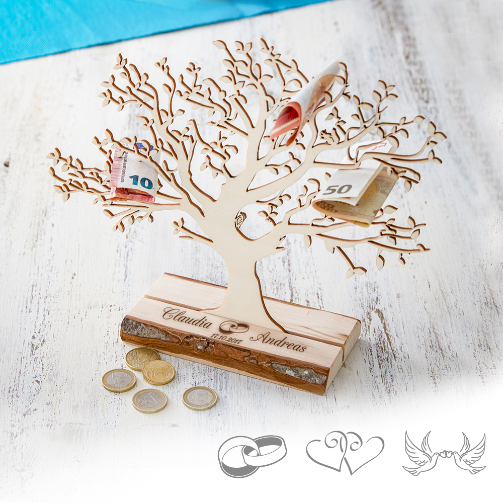 Personalisierter Baum Mit Sockel Graviert Zur Hochzeit Klein