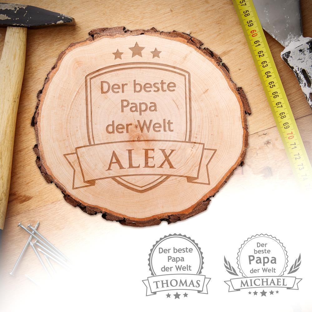 Echtholz Baumscheibe Mit Gravur Der Beste Papa Der Welt