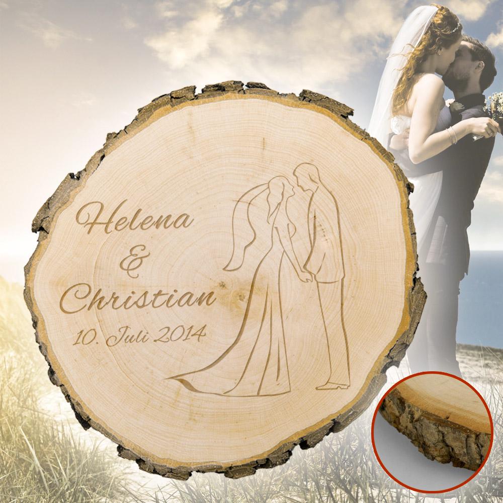 Baumscheibe zur Hochzeit - Silhouette - graviert mit ...