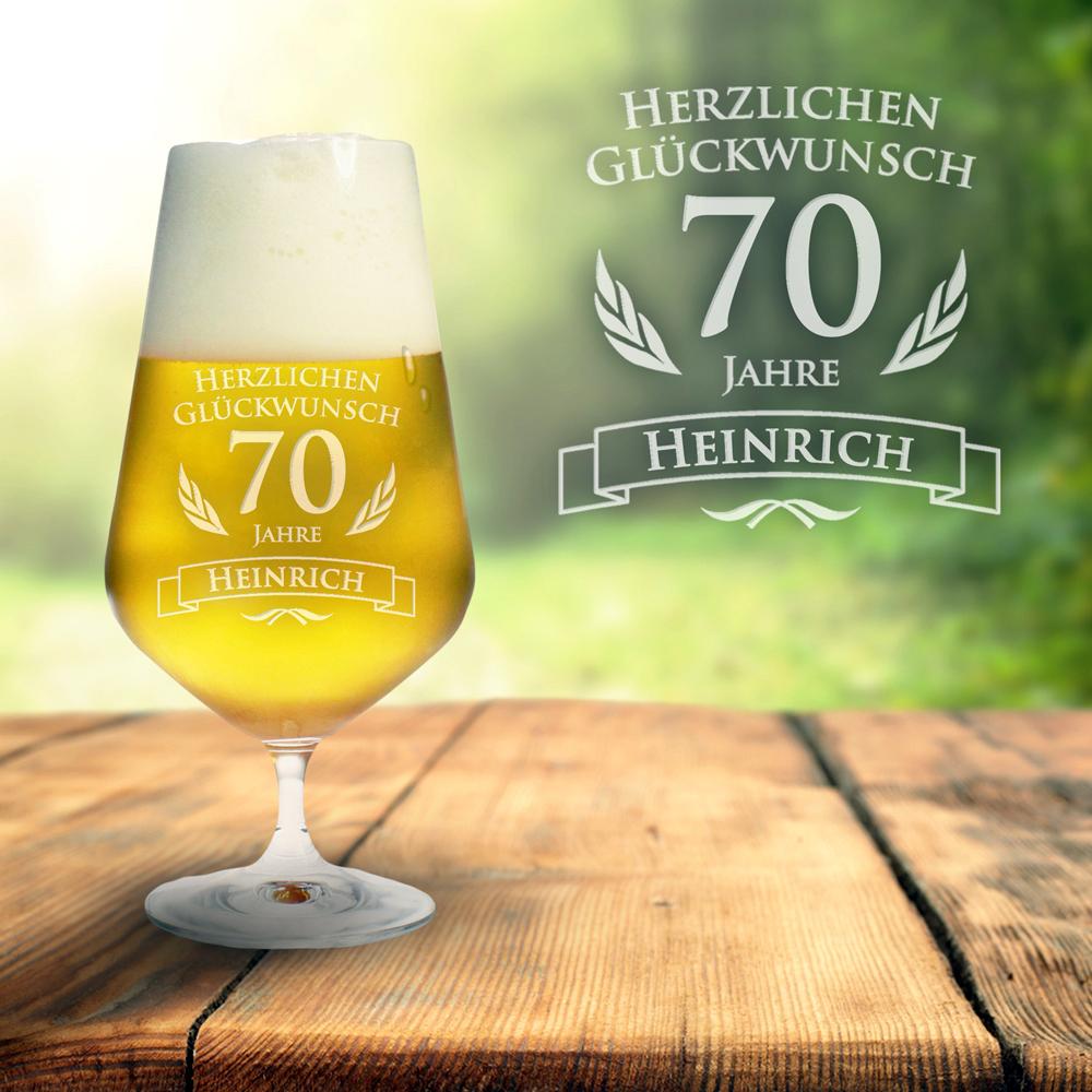 Bierglas zum 70. Geburtstag - mit Namen & Alter graviertes