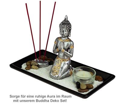 Buddha Deko Set - mit Kerze - 4
