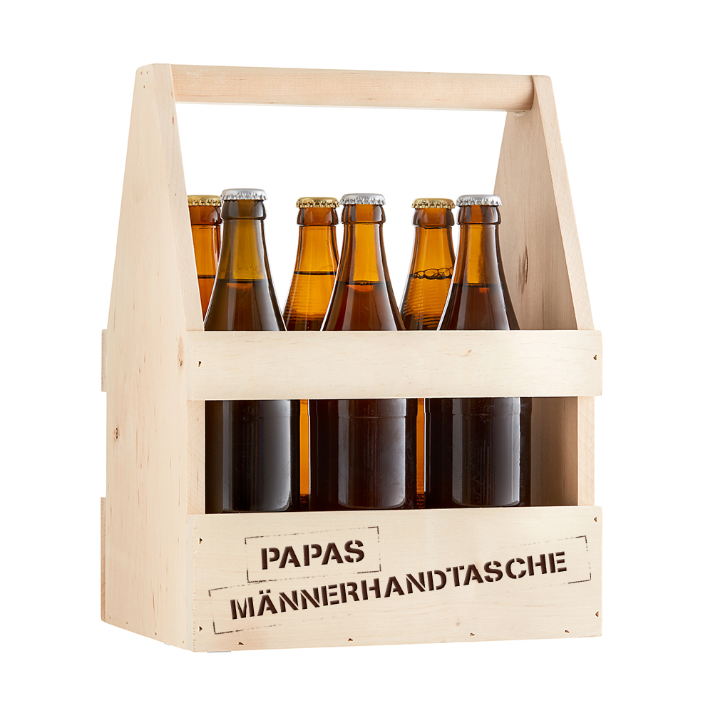 bier flaschentr ger mit gravur papas m nnerhandtasche. Black Bedroom Furniture Sets. Home Design Ideas