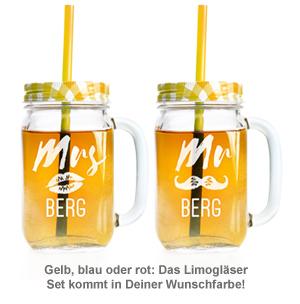 Gläser mit Deckel und Strohhalm Set - Mr and Mrs - 3