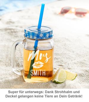 Gläser mit Deckel und Strohhalm Set - Mr and Mrs - 4