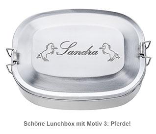 Gravierte Edelstahl Lunchbox für Mädchen - rund - 4