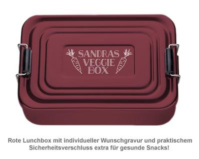 Gravierte Lunchbox - Veggie (rot) - 2
