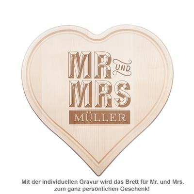 Graviertes Holzherz - Mr. und Mrs. - 2