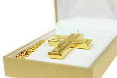 Halskette Kreuz mit 23 Karat Gold - 2