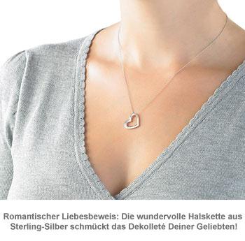 Halskette mit Herzanhänger aus Sterling-Silber - 2