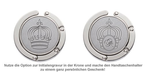 Handtaschenhalter mit Krone und Initialen Gravur - 2