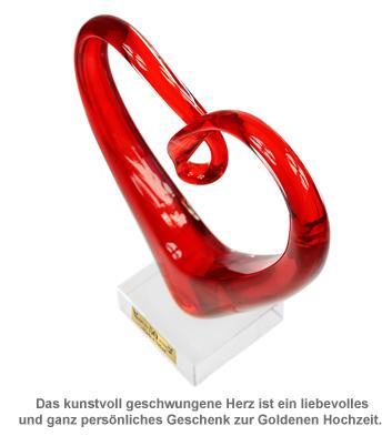 Herz aus Glas mit Gravur - Goldene Hochzeit - 2