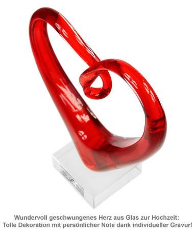 Herz aus Glas mit Gravur - Hochzeit - 3