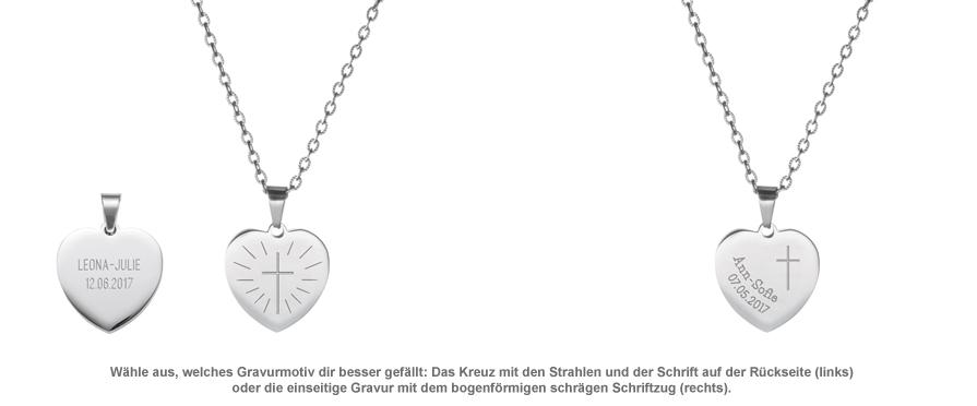 Herzanhänger Silber graviert mit Kette - Kommunion - 2