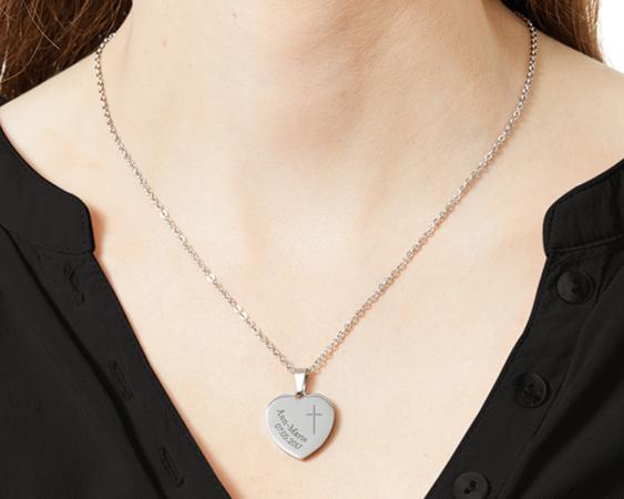 Herzanhänger Silber graviert mit Kette - Kommunion - 3