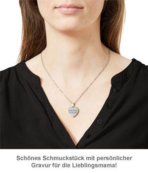 Herzanhänger Silber graviert mit Kette - Lieblingsmama - 2