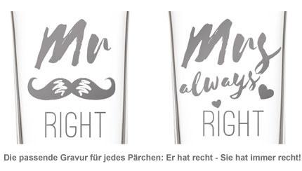 Herzen Sektgläser - Mr and Mrs Right - 2