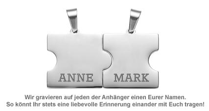 Liebesketten mit Namensgravur - Puzzle Teile - 3