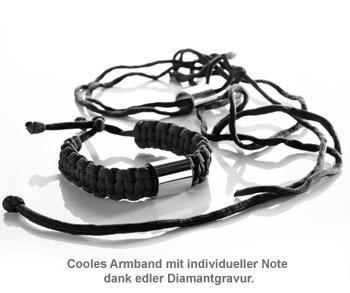 Paracord Armband graviert - Schwarz - 2