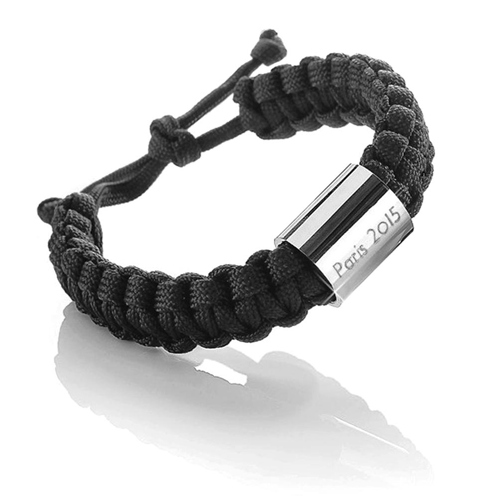 Sehr Robustes graviertes Paracord Armband - Schwarz SL65