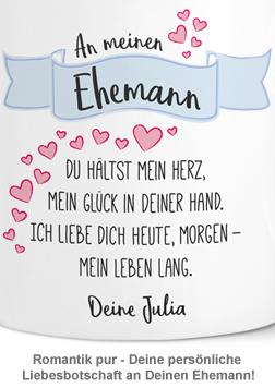 Personalisierte Herz Henkeltasse - Liebesgedicht Ehemann - 3