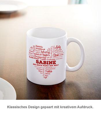 Personalisierte Tasse für Mama - Herz aus Worten - 3