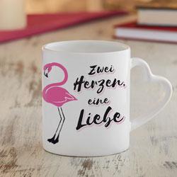 Personalisiertes Herz Henkeltasse Set - Flamingo - 3