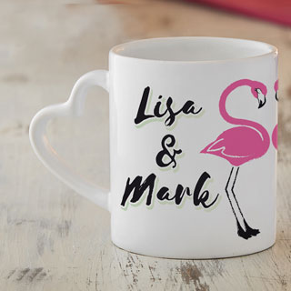 personalisiertes herz henkeltasse 2er set f r paare flamingo. Black Bedroom Furniture Sets. Home Design Ideas