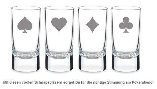Poker Schnapsgläser - Spielkarten Motiv - 2