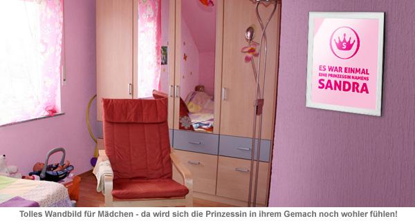 Prinzessin - personalisiertes Kinderzimmer Bild Weiß - 2
