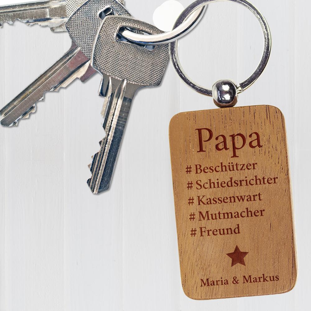 bester Papa Schlüsselanhänger mit Namen der Kinder graviert Vatertagsgeschenk