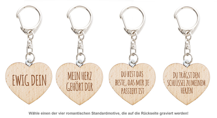 Schlüsselanhänger Holzherz mit Liebesbotschaft - 2