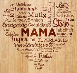 Schneidebrett mit Gravur für Mama - Herz aus Worten - 2