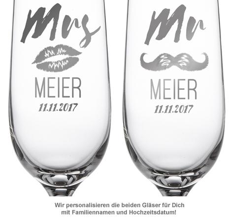 Sektgläser - Mr and Mrs mit Motiv und Namensgravur - 2