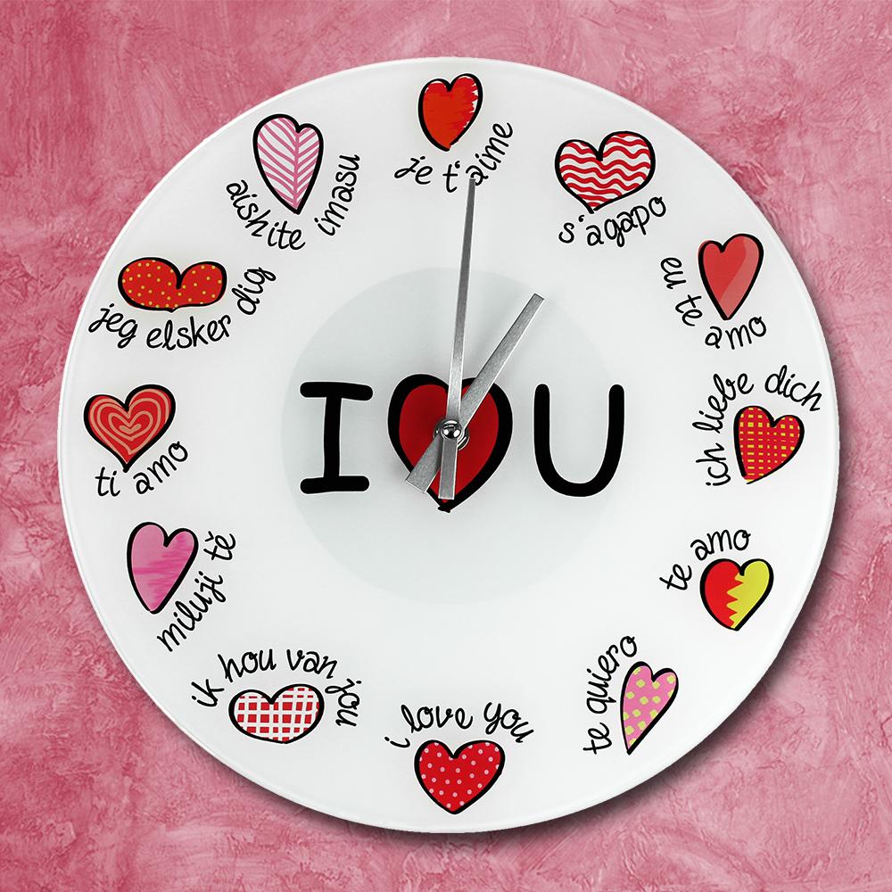 Wanduhr Ich liebe dich so mit Name Valentinstag Uhr