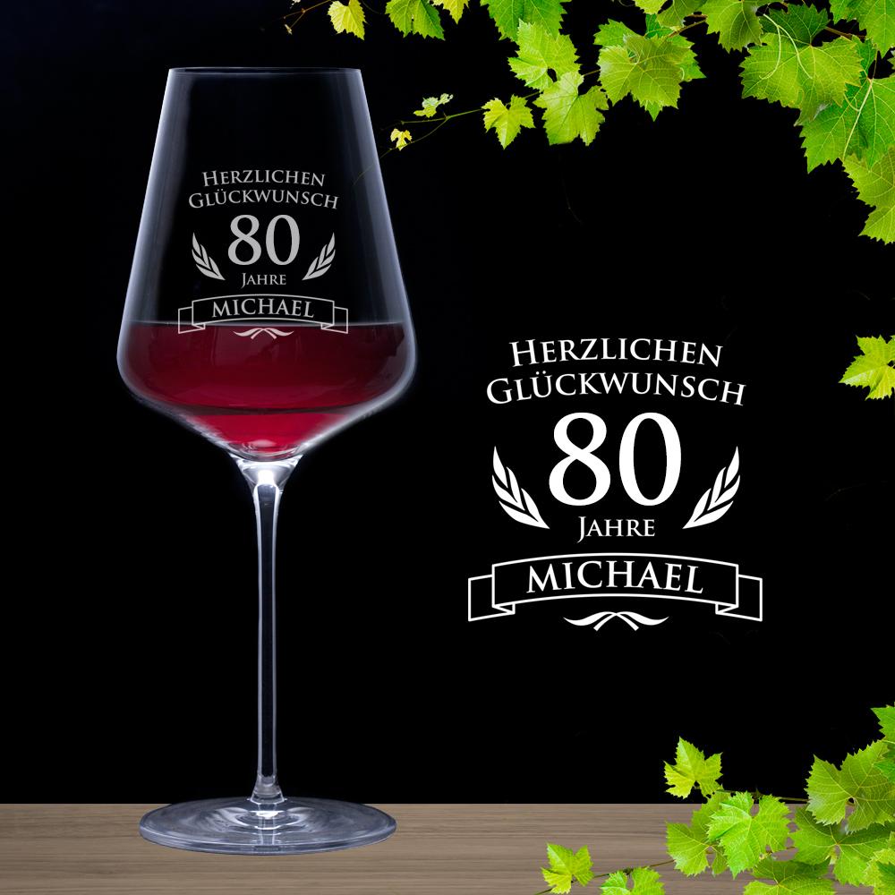 weinglas zum 80 geburtstag rotweinglas mit pers nlicher. Black Bedroom Furniture Sets. Home Design Ideas