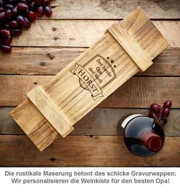 Weinkiste rustikal mit Gravur - Bester Opa - 2
