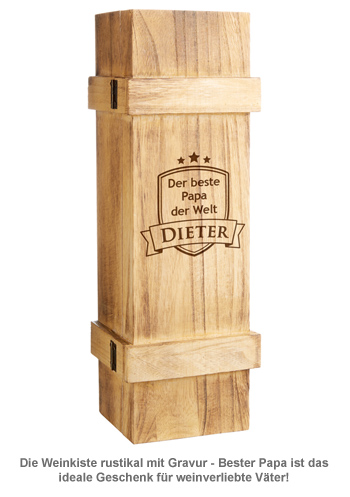 Weinkiste rustikal mit Gravur - Bester Papa - 2