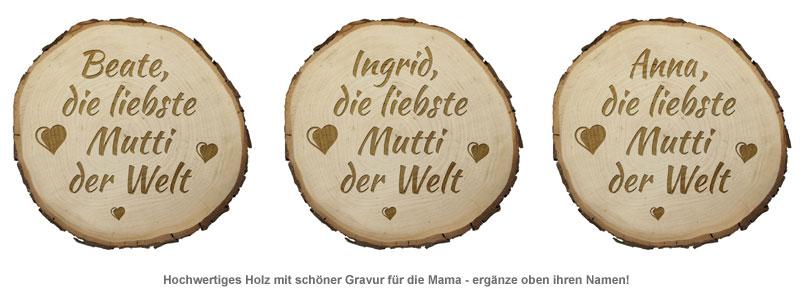 Baumscheibe mit Gravur - Die Liebste Mutti - 3