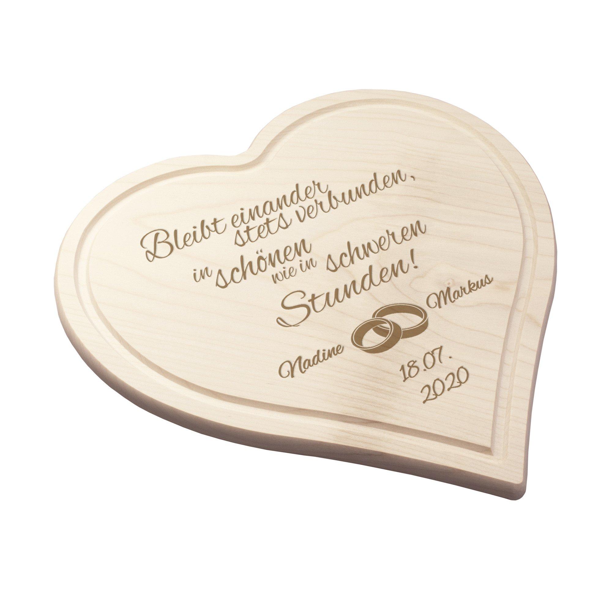 Graviertes Brett - Herz zur Hochzeit - 2