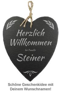 Schieferherz Familie - personalisiert - 2
